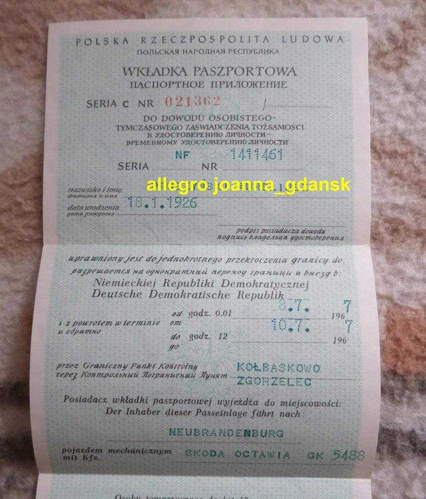 Wkładka paszportowa 1967 KWMO Gdańsk DDR NRD PRL