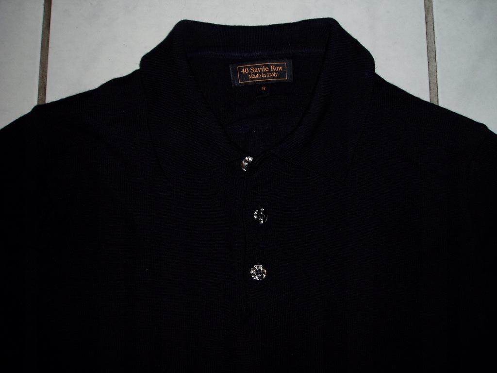 SAVILE ROW - sweter polo z wełny merynosów/S