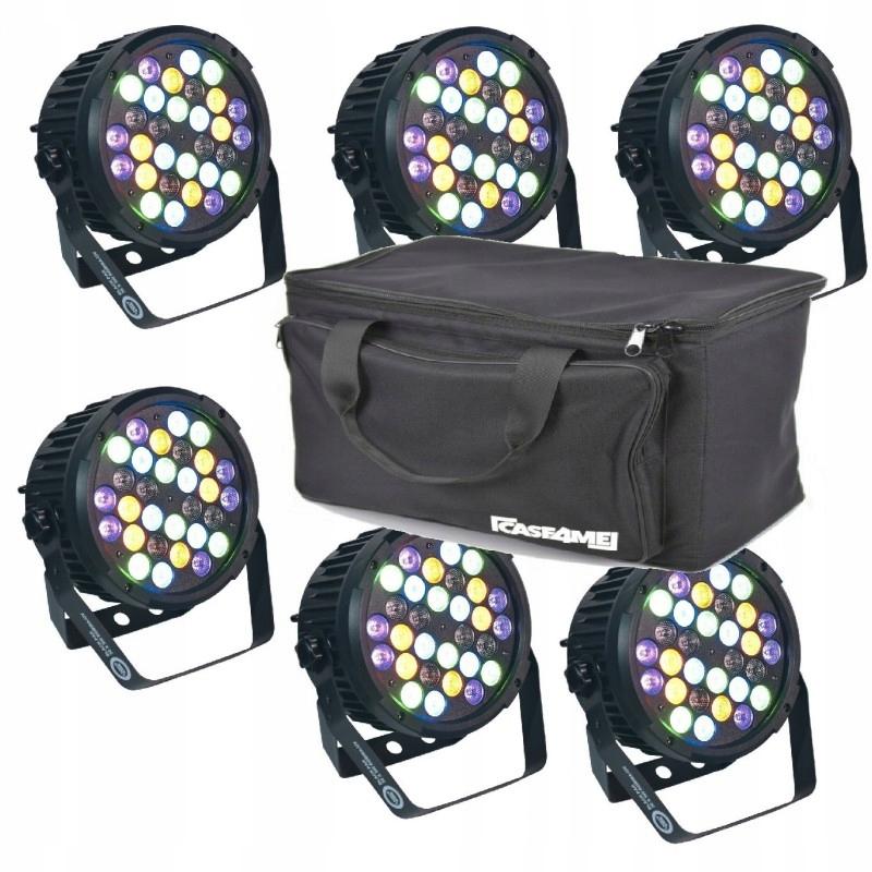 LIGHT4ME BLACK PAR 30x3W RGBA-UV LED MOCNY SET2