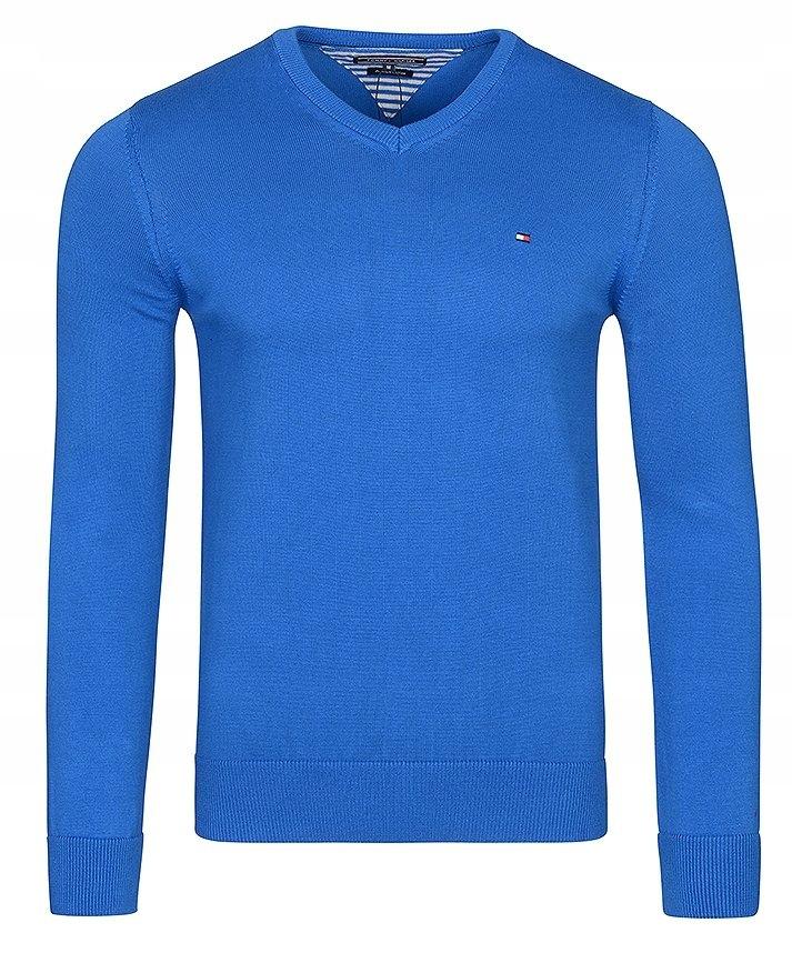 Sweter Męski Tommy Hilfiger J.Niebieski V-Neck/ XL