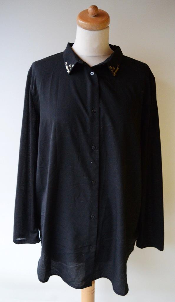 Koszula H&M Mgiełka Czarna L 40 Kryształki