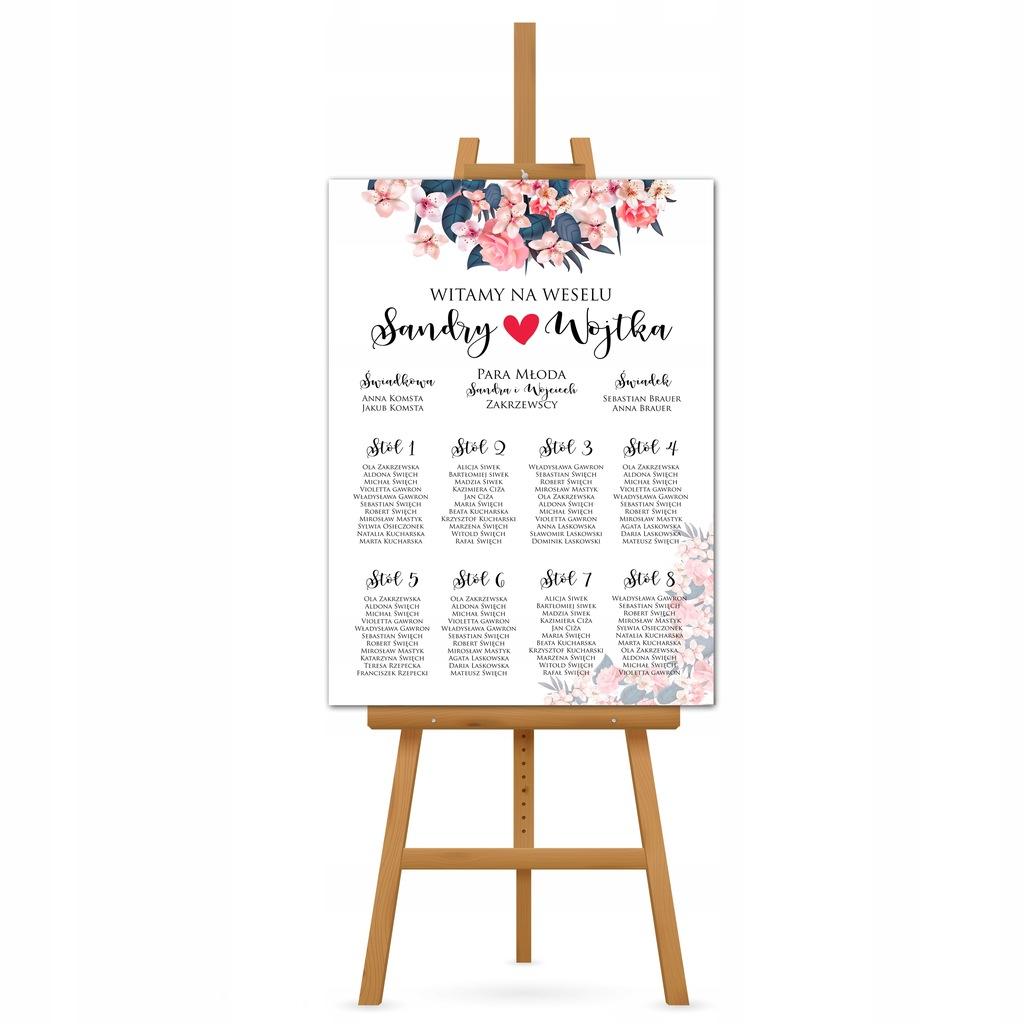Plan stołów gości na wesele 70x50 cm - NOWOŚĆ