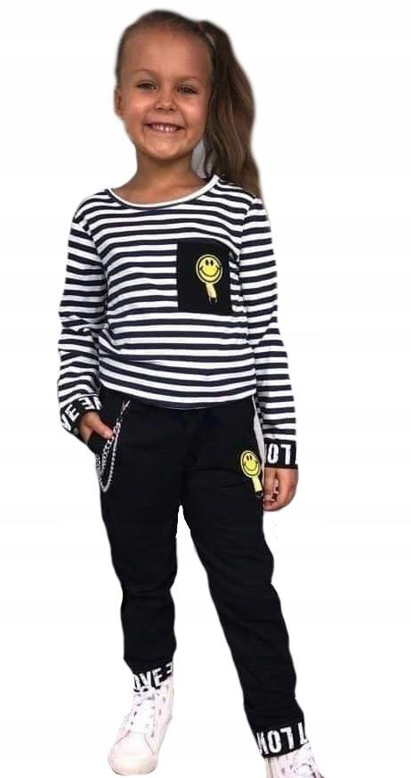 Dres komplet bluza paski spodnie czarne 152-158 14