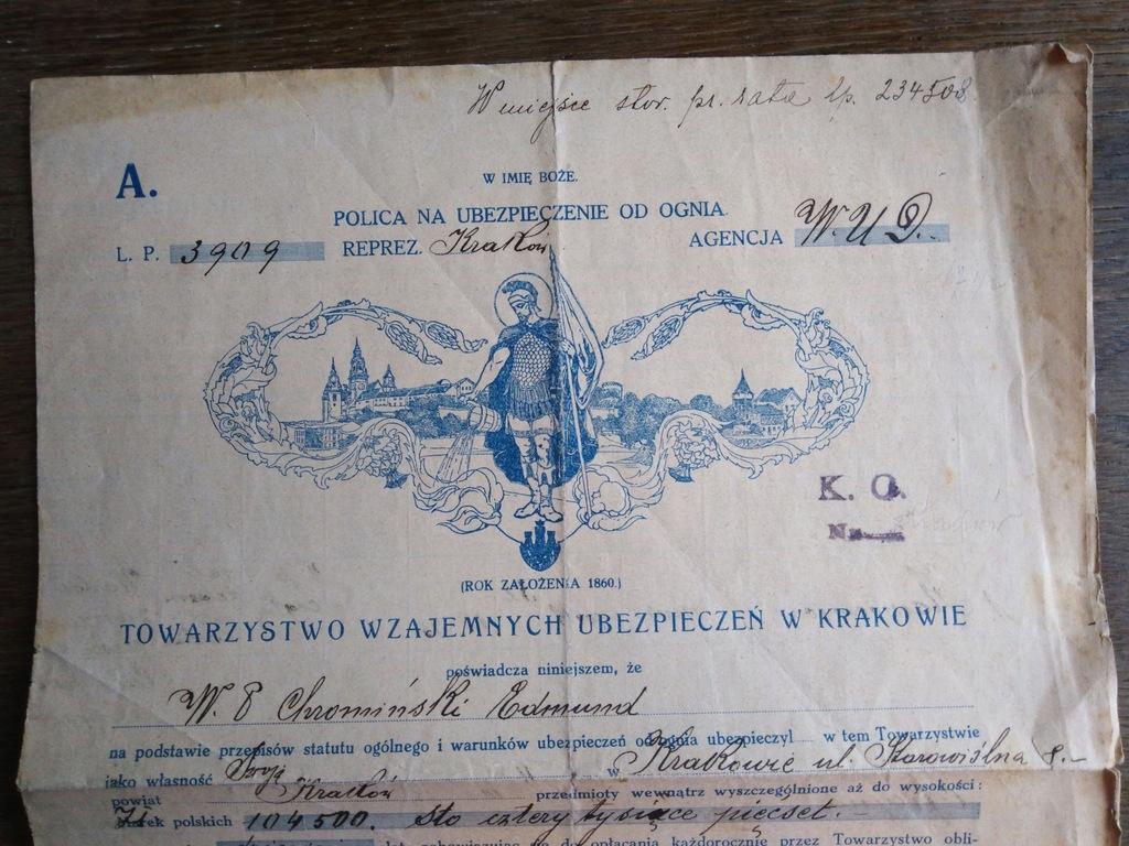 Polisa na ubezpieczenie od ognia. Kraków 1924