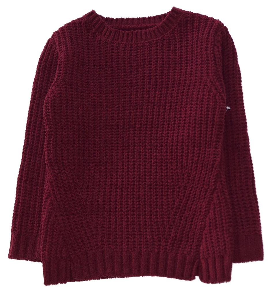 GEORGE ciepły sweter bordo struktura NEW 116