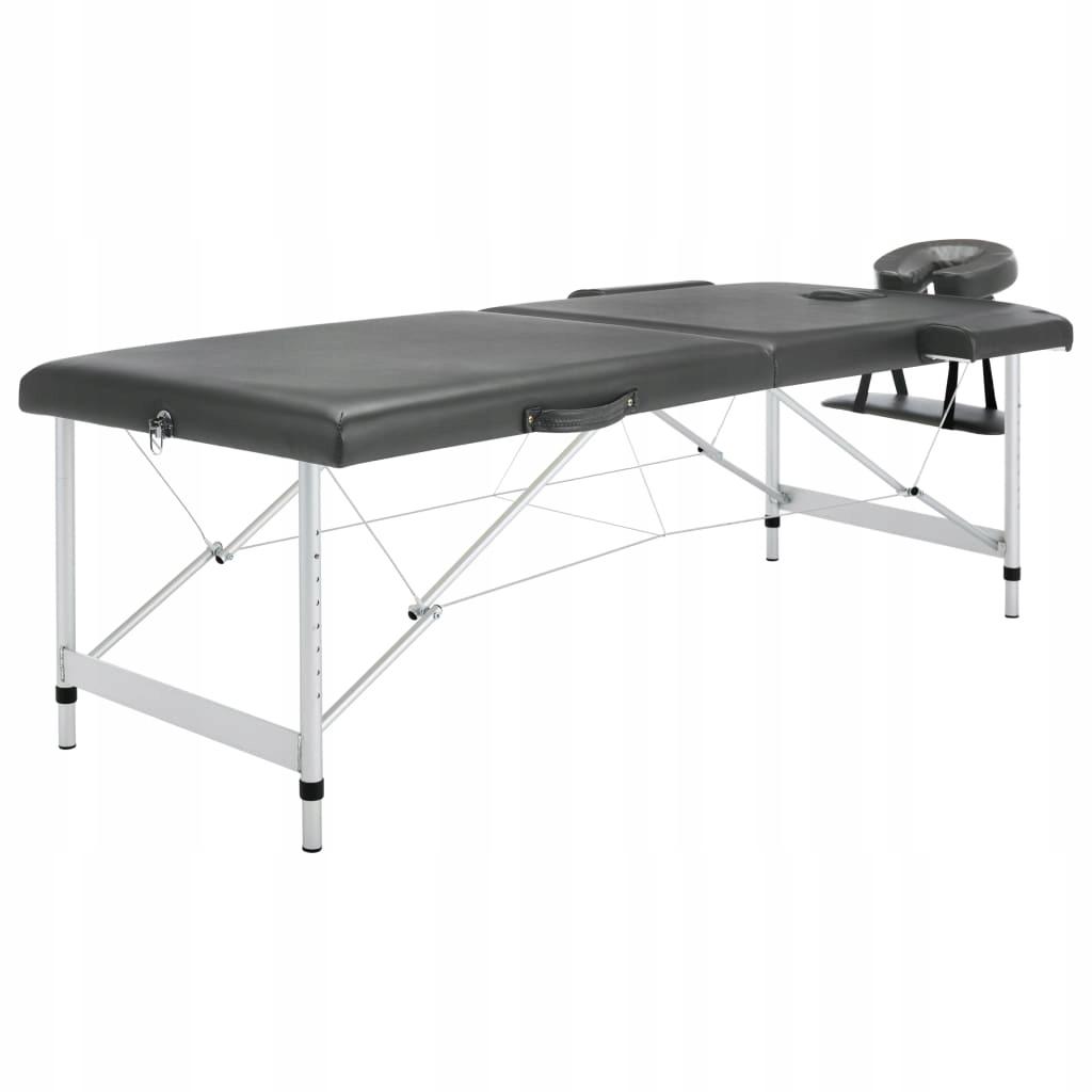 Stół do masażu, 2 strefy, rama z aluminium, antrac