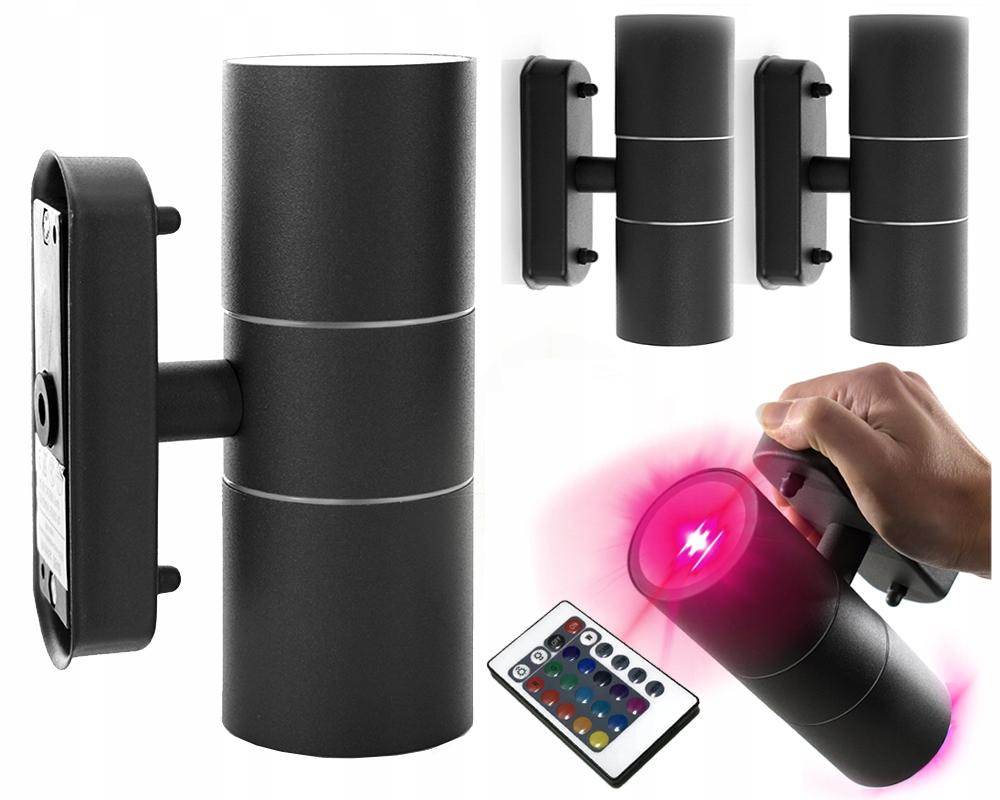 Lampa elewacyjna RGB kinkiet ogrodowy Czarna Metal