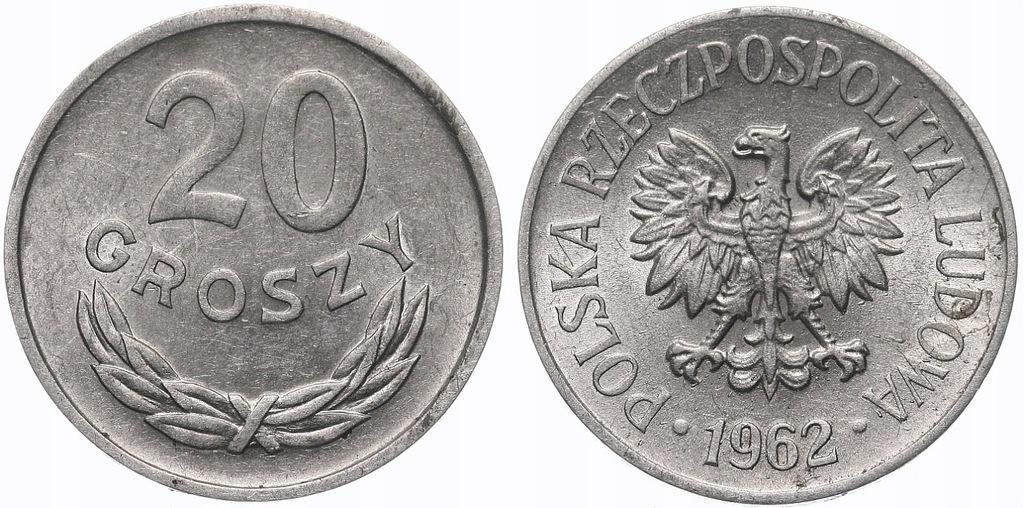 232.Polska - PRL - 20 groszy - 1962 - St.1- #A