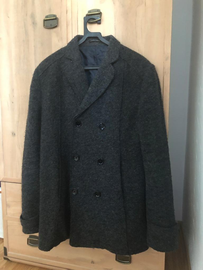 Czarna męska kurtka H&M roz. M 60% wełna