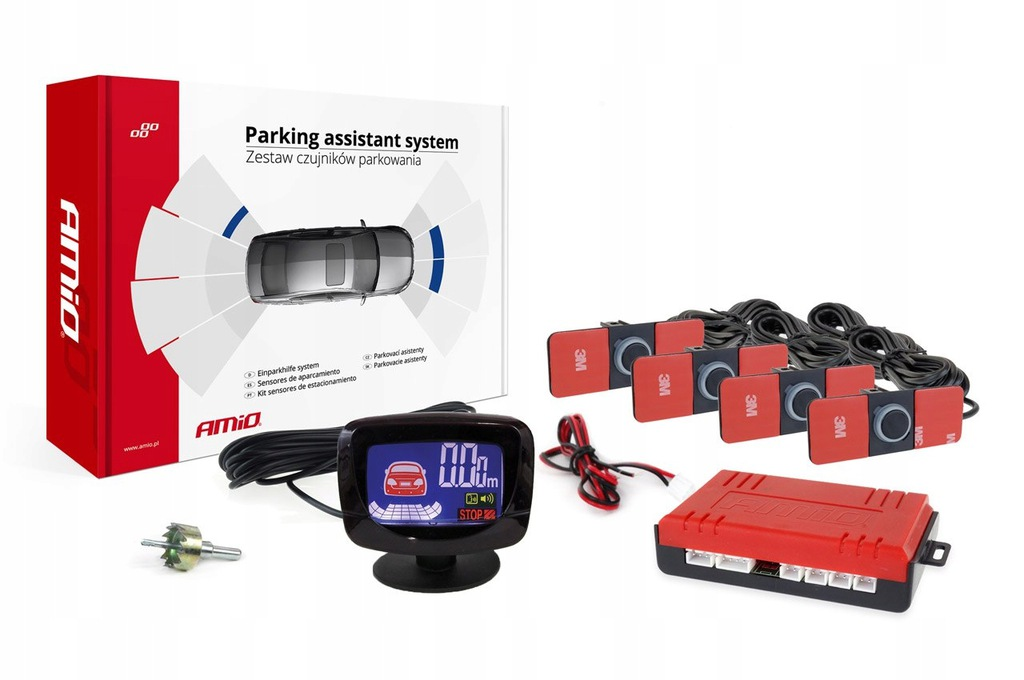 Zestaw czujników parkowania cofania led-graf 4 sen