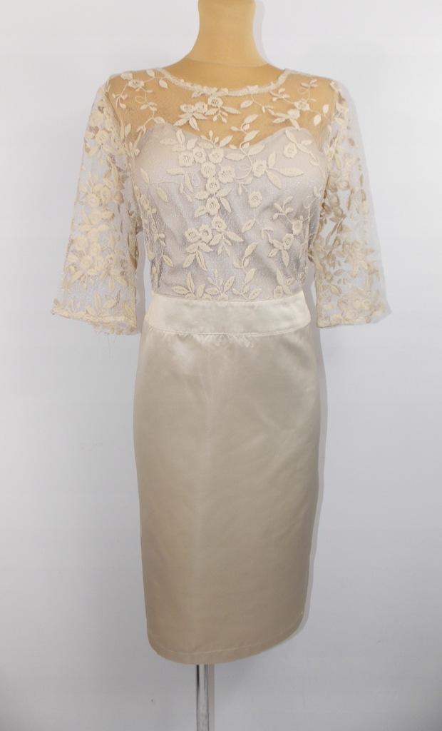 sukienka sty ASOS elegancka koronka ŚLUB WESELE 44