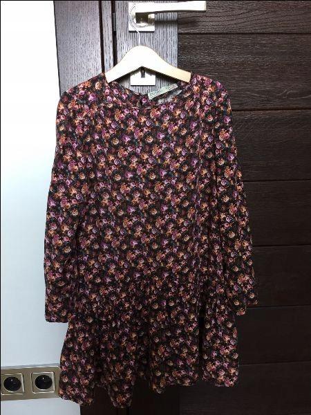 ZARA sukienka 128 jesień kwiatki
