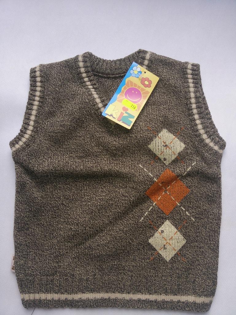 Kamizelka bezrękawnik chłopięcy sweterek 116 cm