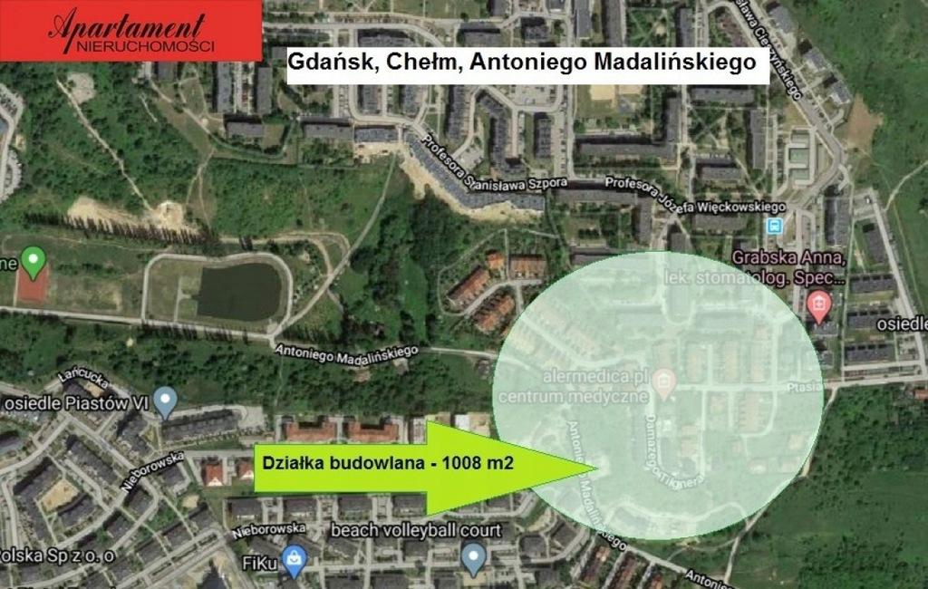 Działka, Gdańsk, Chełm, 1008 m²