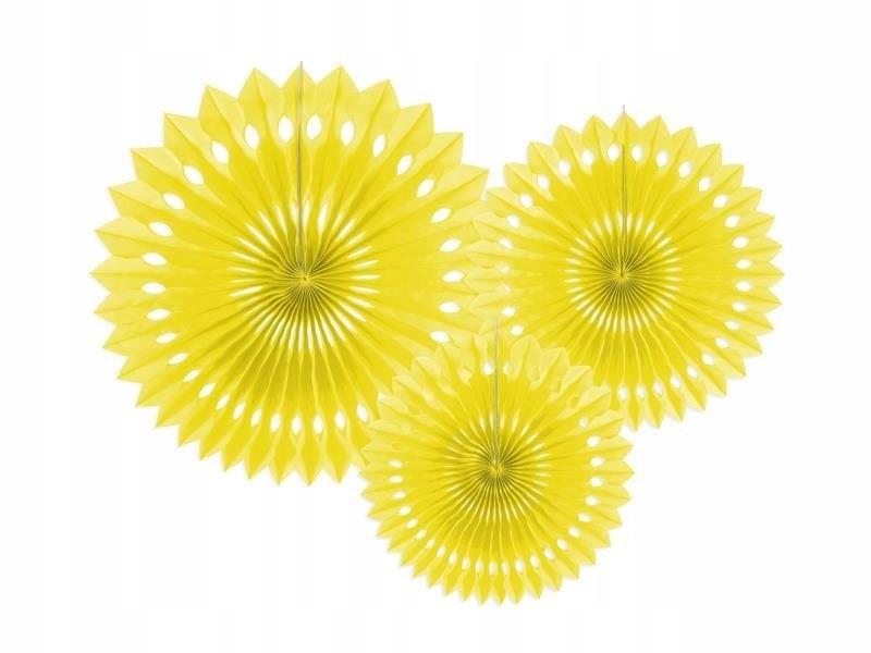 Rozety dekoracyjne żółty 20-30cm, 150 szt.