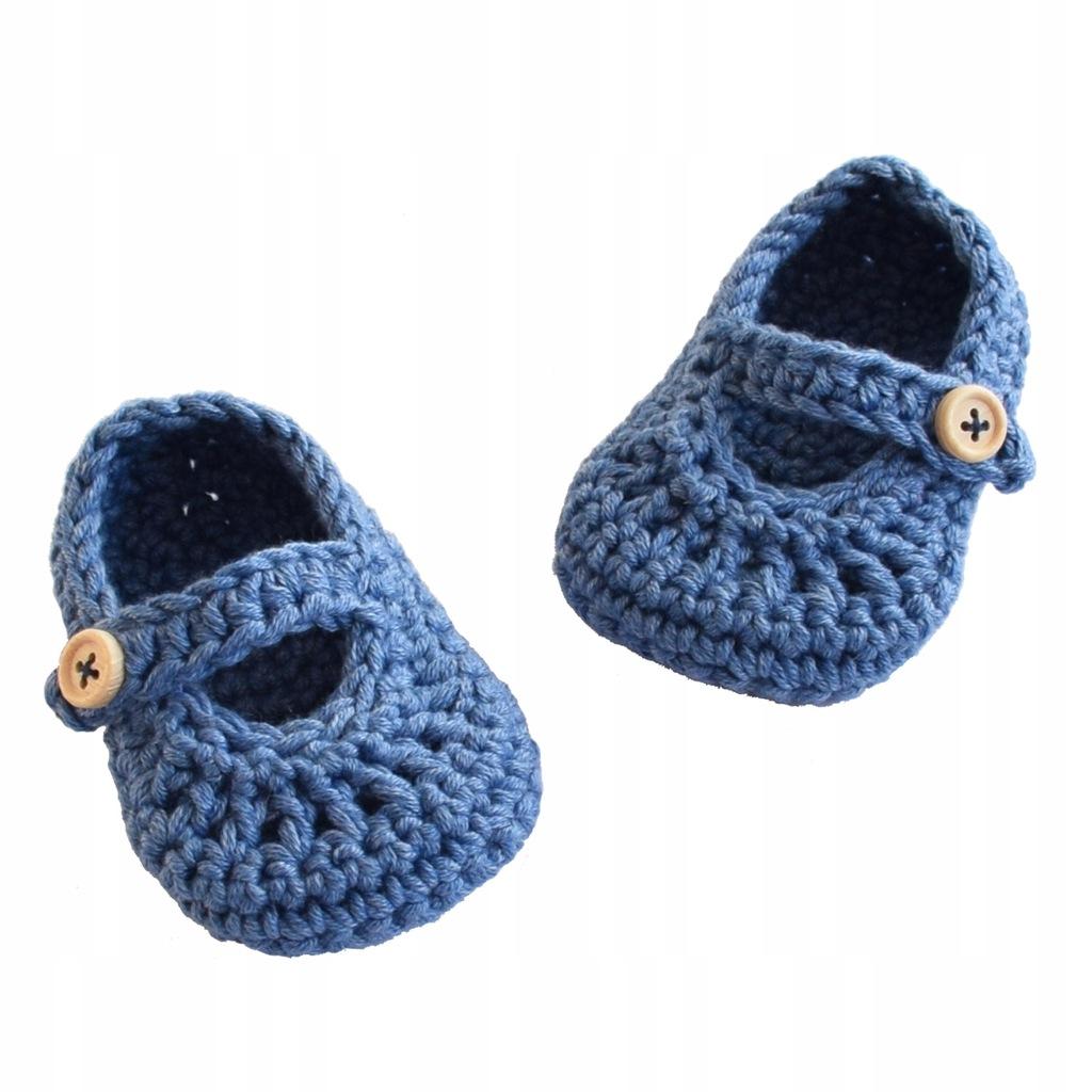 Buciki niemowlęce szydełkowe 9 cm sandałki ALOM