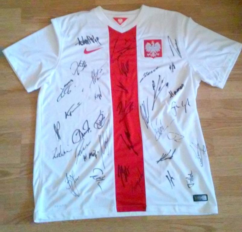 Koszulka Rep. Polski w Piłce Nożnej z podpisami!