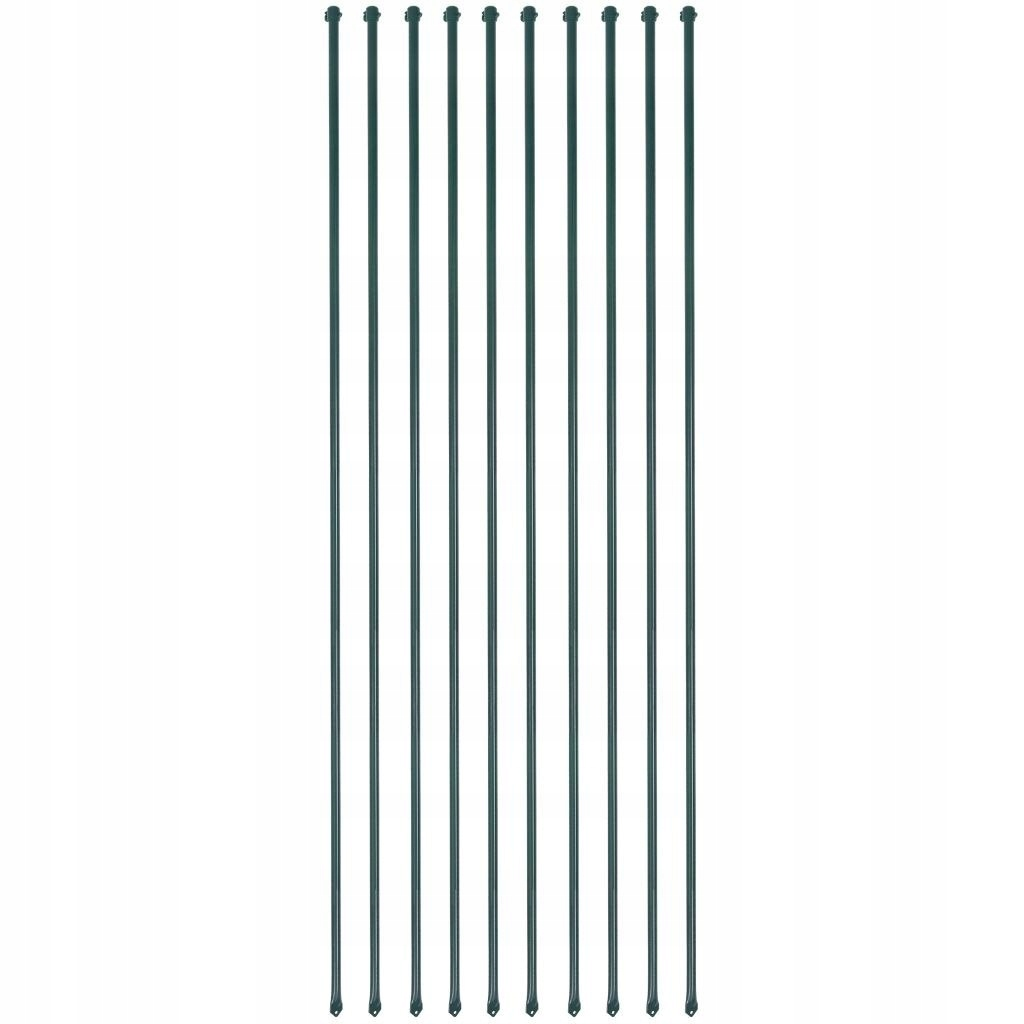 Słupki ogrodzeniowe, 10 szt., 2 m, metalowe, zielo