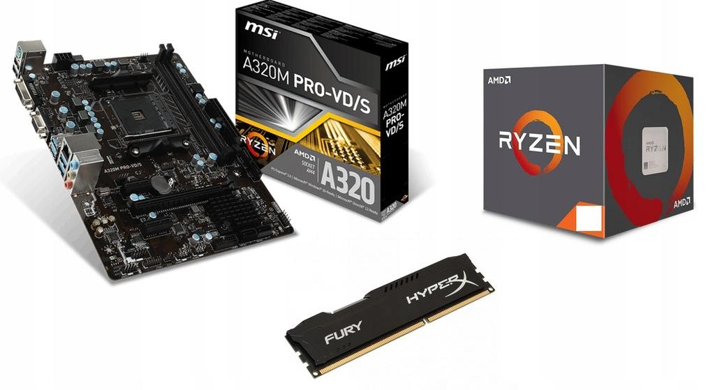 MSI A320M PRO-VD +AMD x6 RYZEN5 1600 +RAM DDR4 8GB