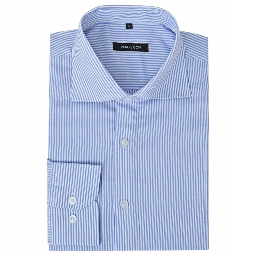 Męska koszula biała w niebieskie paski rozmiar XL