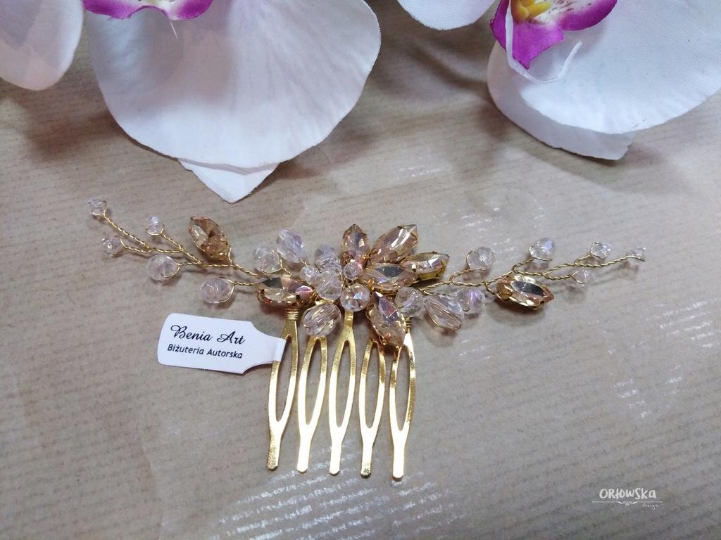 Grzebyk złoty ślubna ozdoba do włosów grzebień