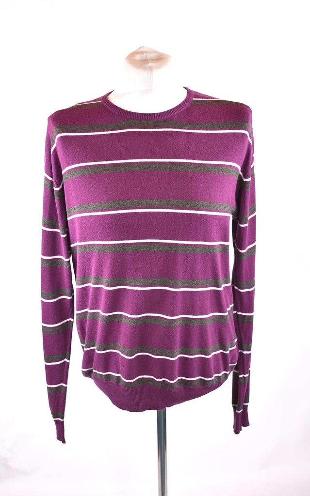 1982 sweter męski fioletowy w białe paski r. M