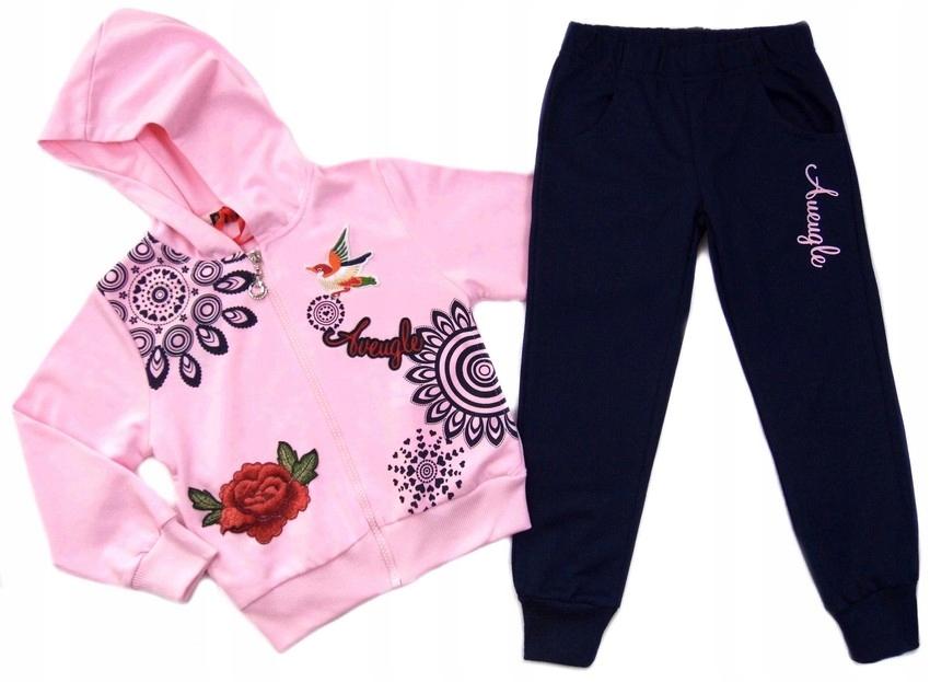 1122 słodki DRES bluza spodnie *EMMA* 4A rose~EKST