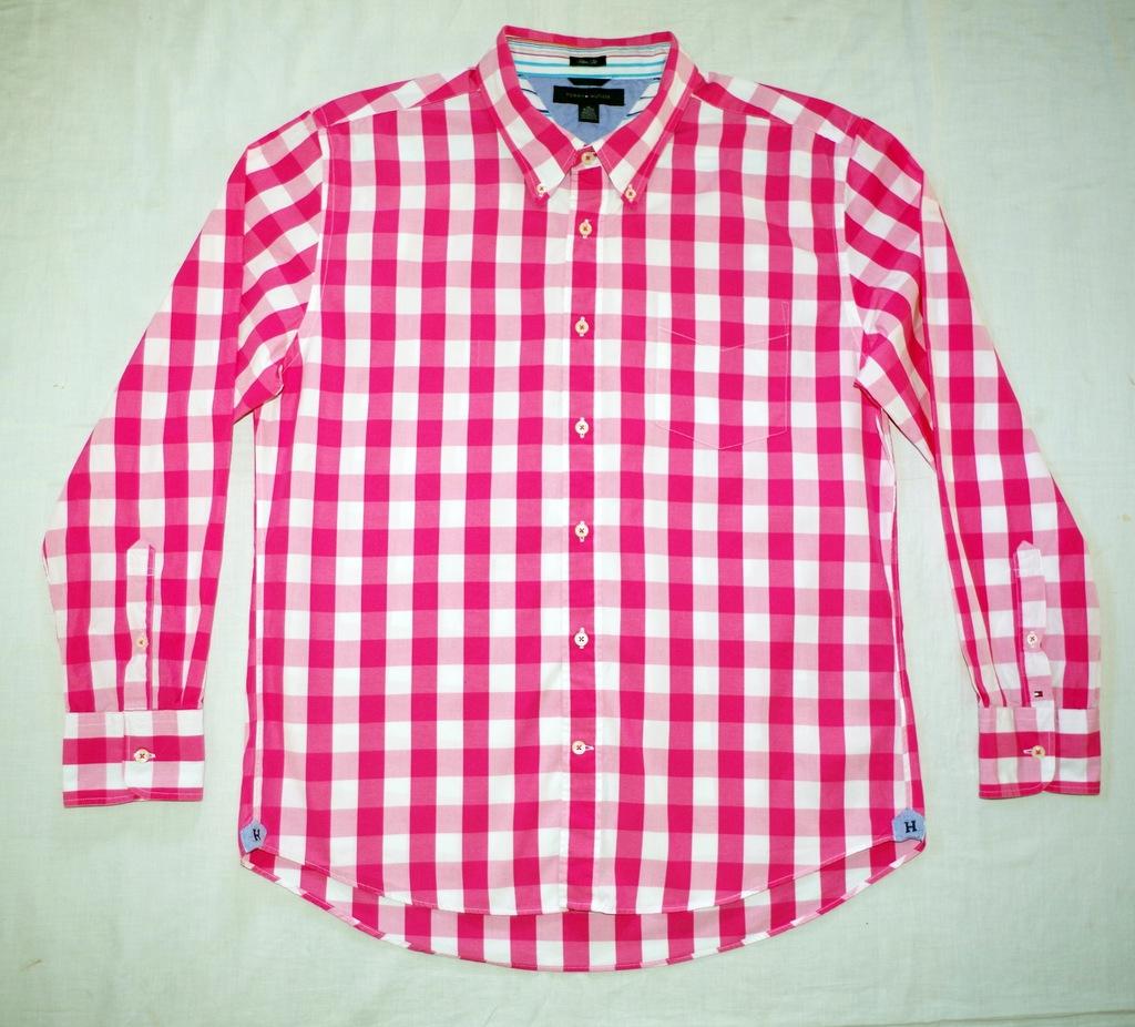 Tommy Hilfiger biała koszula w kratę XL