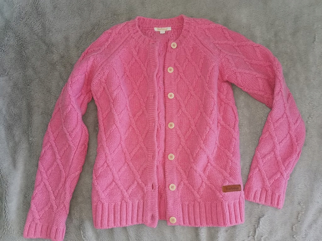 BARBOUR sweter kardigan CIEPŁY WEŁNA 140
