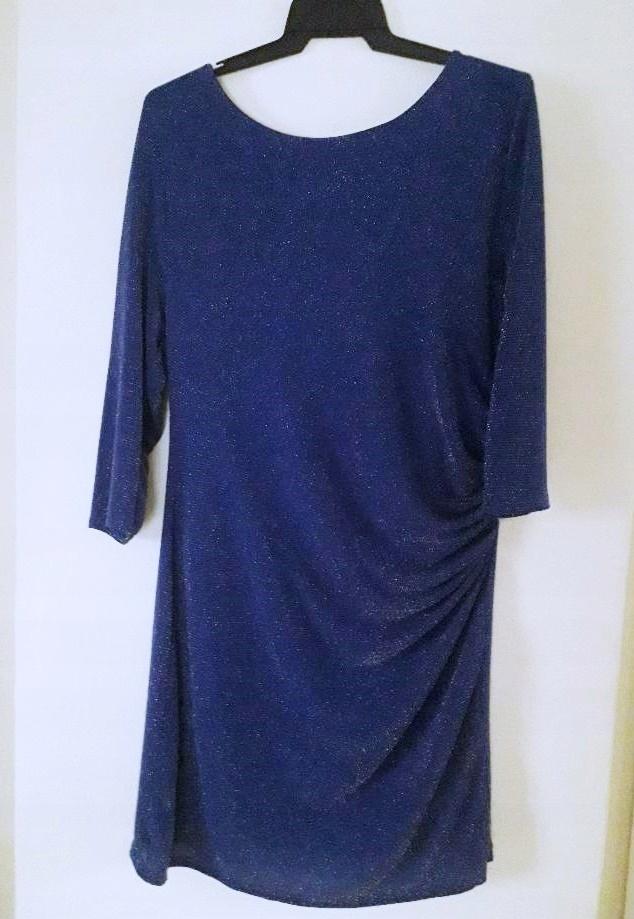 brokatowa granatowa sukienka New Look 46