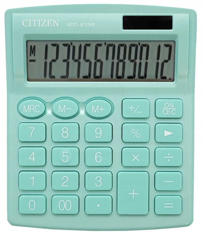 Kalkulator biurowy CITIZEN SDC-812NRGRE zielony