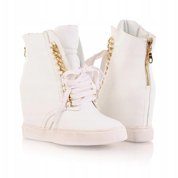 Białe sneakersy złote łańcuszki