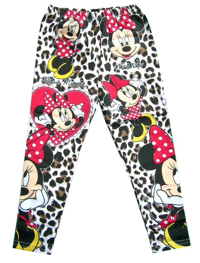 legginsy DISNEY Myszka Minnie spodnie panterka 110