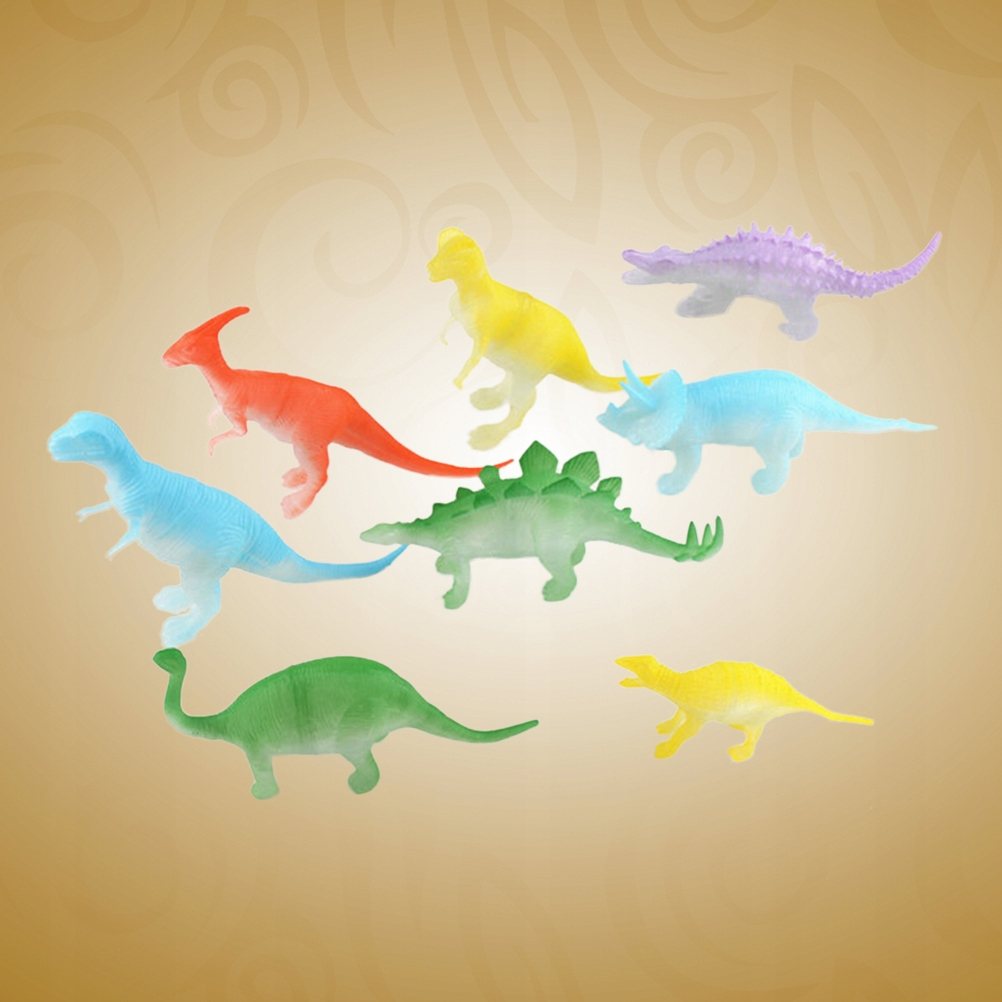 8pcs Luminous Dinosaur Animal Models Plastic Dinos