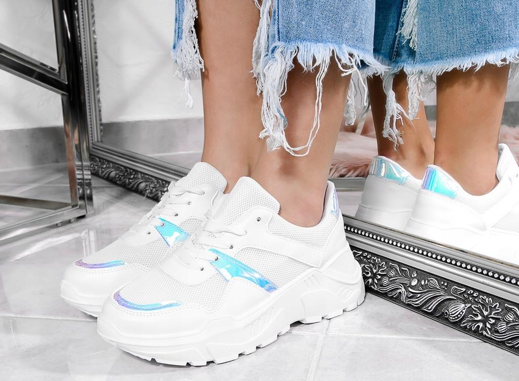Białe Sneakersy Holograficzne Dodatki 39
