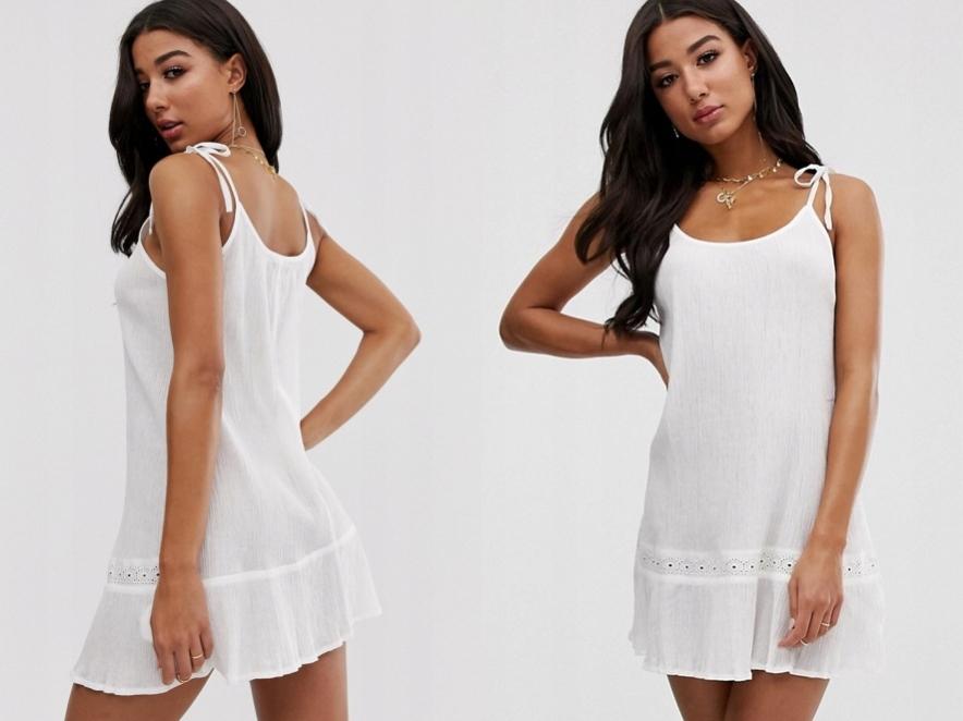 Boohoo Biała sukienka plażowa z ramiączkami S