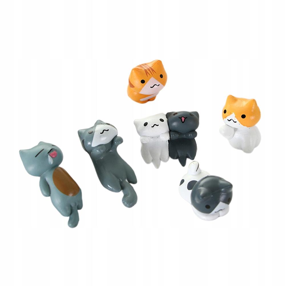 6 szt. Koty ozdoby miniaturowe pejzaże Figurki PVC
