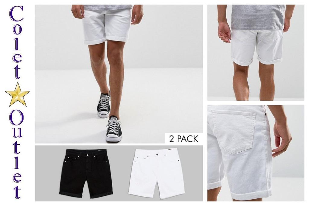 ms42 krótkie spodenki białe czarne jeans slim W30