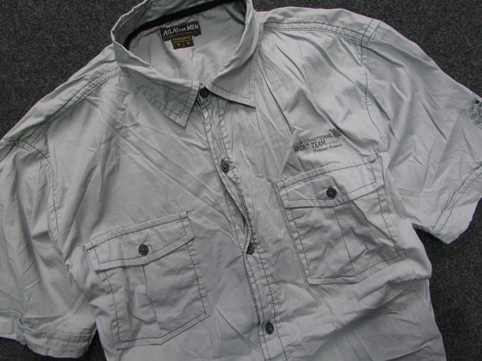 8WZ* ATLAS for men szara casual męska koszula__M  6tjv6
