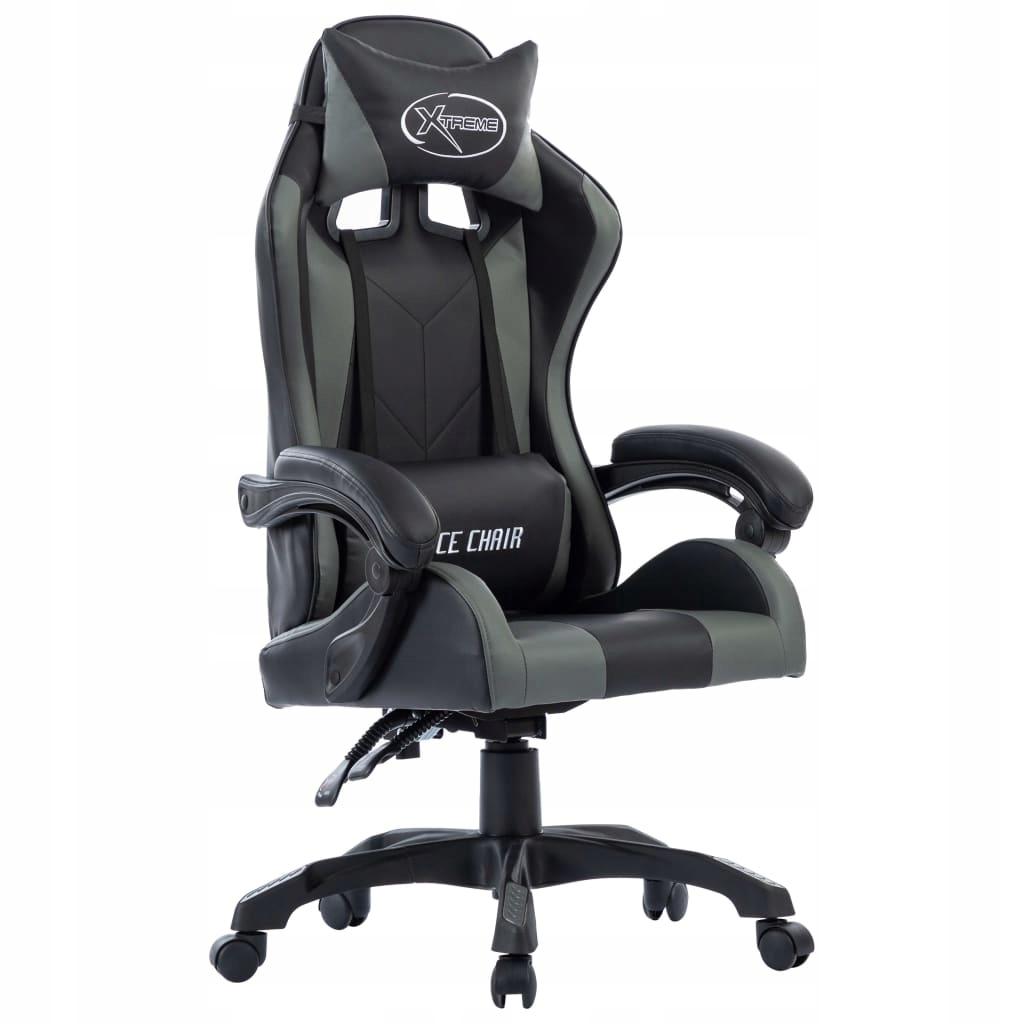 Fotel dla gracza, szary, sztuczna skóra
