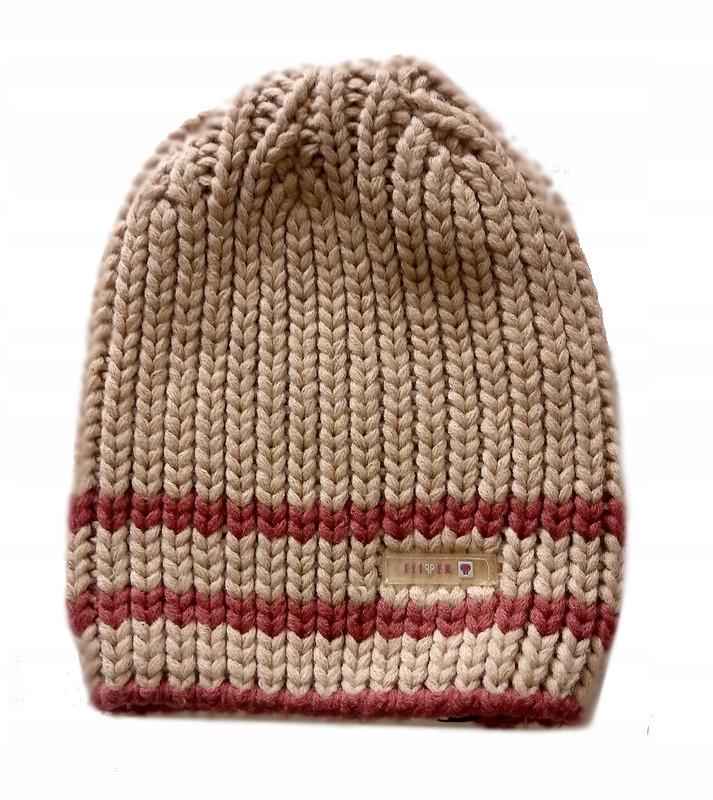 FLIPPER czapka POLSKA gruby splot BEŻOWA 54-56