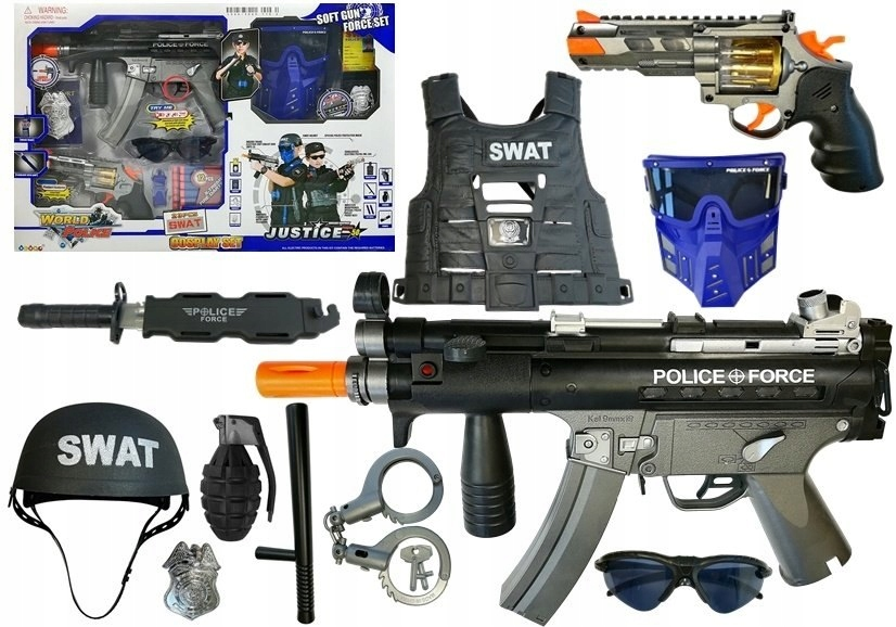 Zestaw Policyjny Pistolet na strzałki MP5 Rewolwer