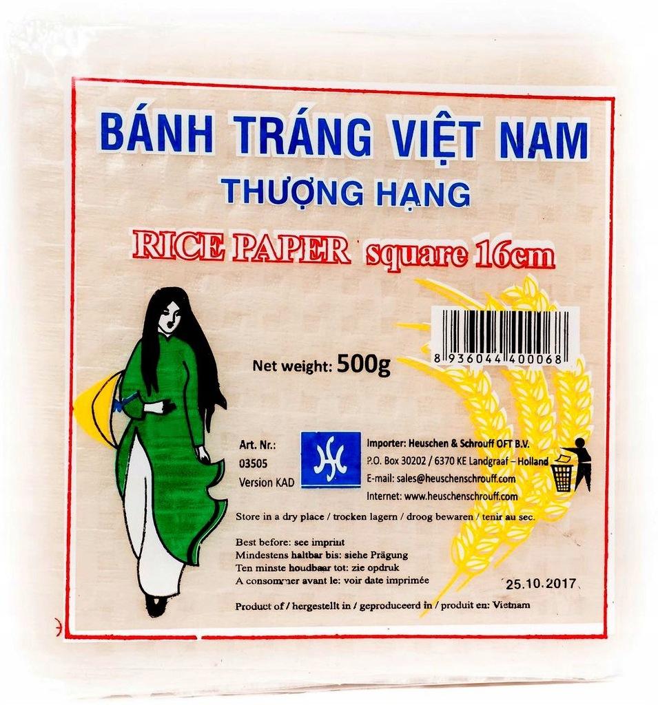 Papier Ryżowy Kwadratowy Wietnamski 16cm Mały 500g