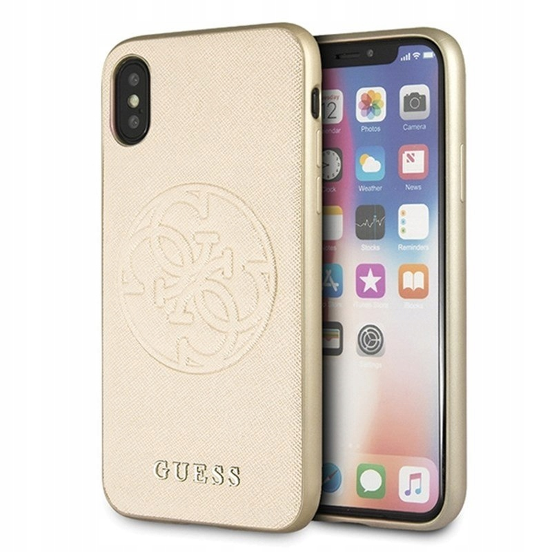 Guess Saffiano - Etui iPhone Xs / X (Gold)