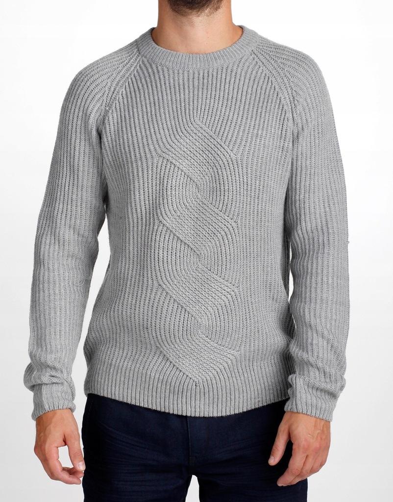RESERVED Sweter męski z dekoracyjnym splotem r.XL