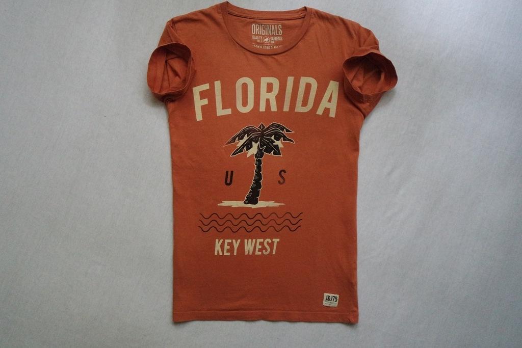 JACK JONES koszulka pomarańcz nadruk t-shirt__XS/S