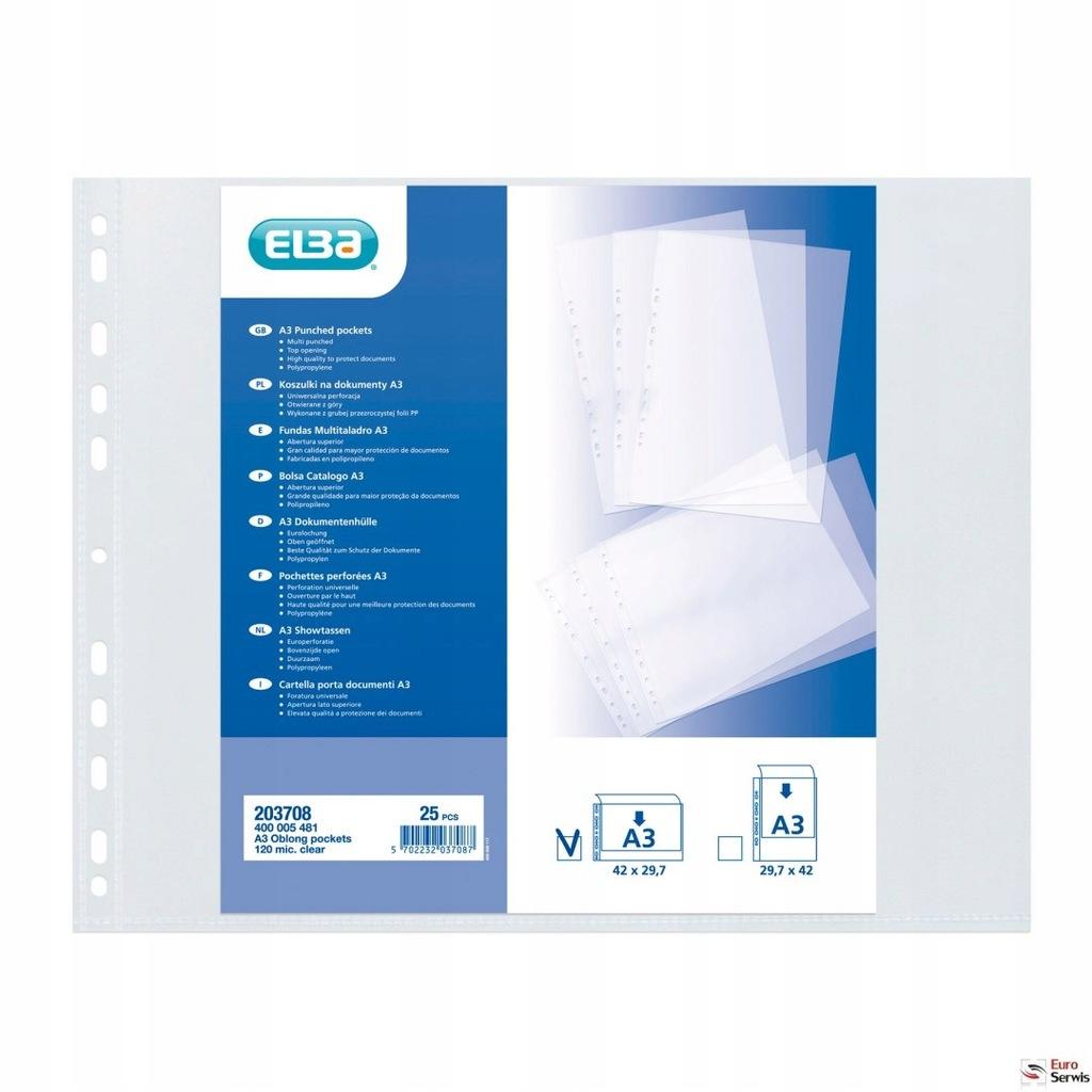 Koszulki groszkowe ELBA A3 120mic poziome (25szt)