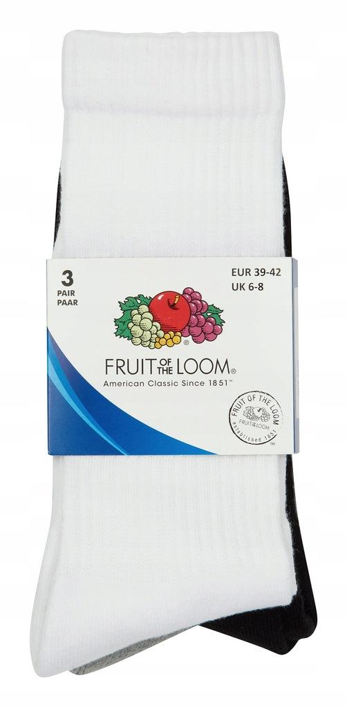 Wysokie SKARPETY FRUIT OF THE LOOM 3-pak 43-46 MIX