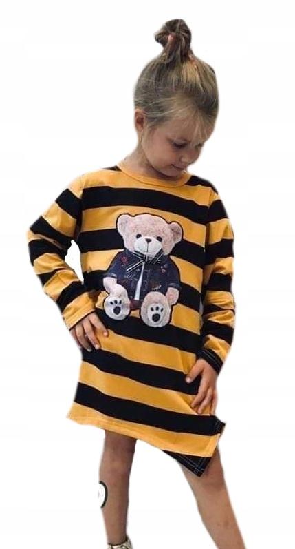 Tunika bluza pasy miś miodowo czarne 122-128 8
