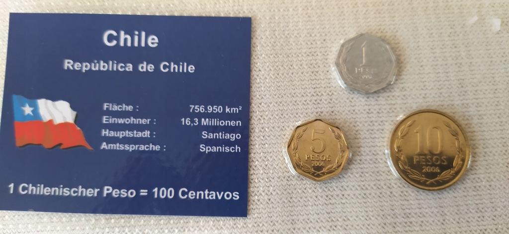 ZESTAW 3 monety w blistrze --CHILE.